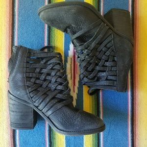 Free People Carrera Heel Black Booties